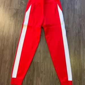 Red Jogger with White Side Stripe Detail